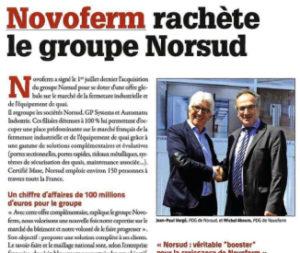 Article Novoferm rachete le groupe Norsud